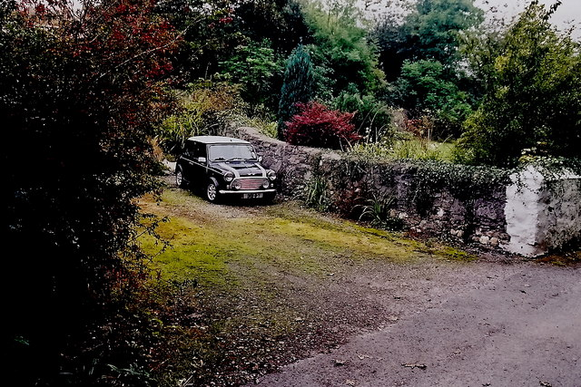 Ballasalla - Lane along Silver Burn River and car