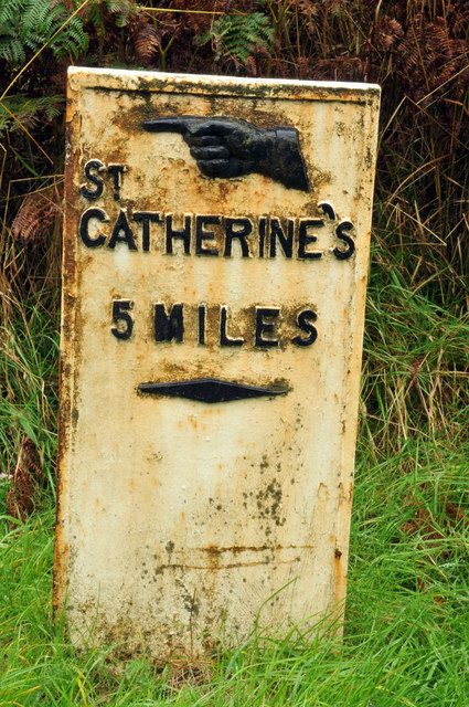 Milepost in Hell's Glen
