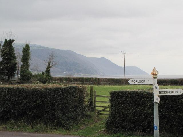 Road sign, Bossington junction