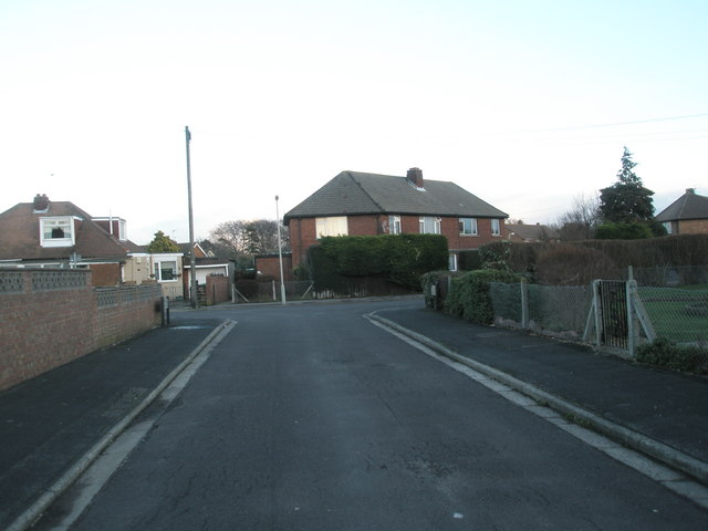 Looking down Denville Avenue towards Bayly Avenue