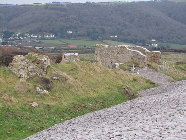 Ruins behind the beach, Porlock