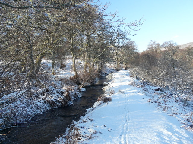 Fish ladder in the snow, Strath Carnaig