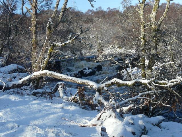 Fall/weir on the Strath Carnaig River.