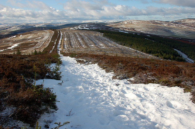 Hard snow on the track, Southern Upland Way