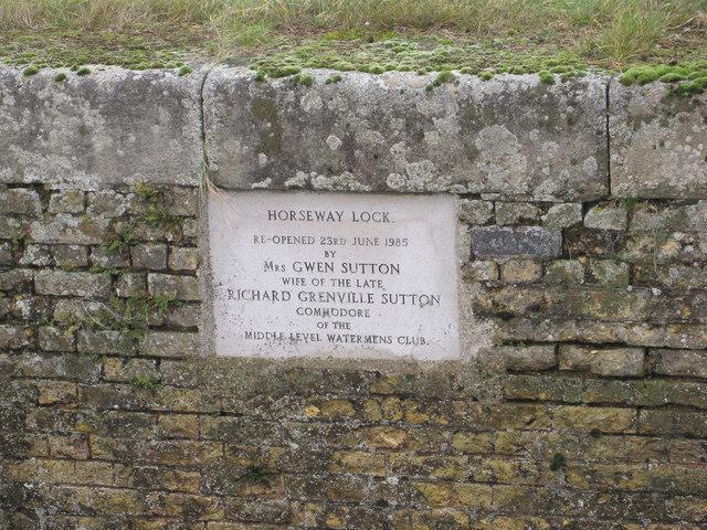 Horseway Lock plaque