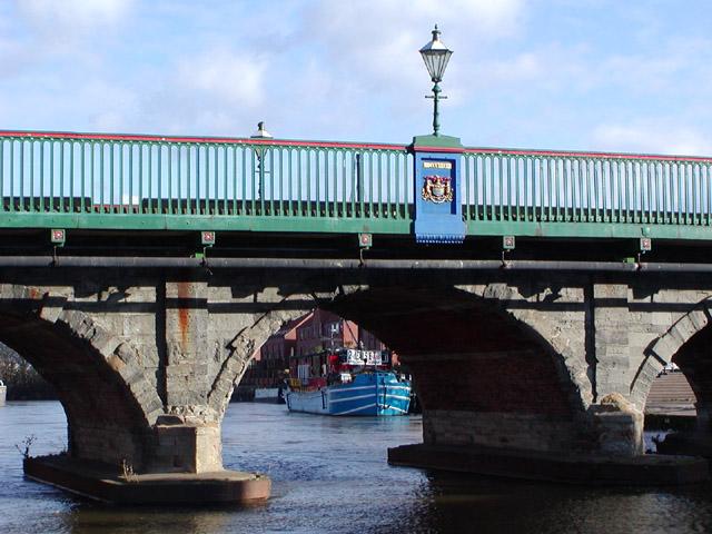 Bridge detail and barge