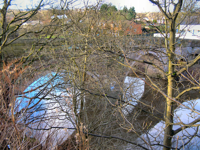 River Irwell, the ancient bridge at Ringley