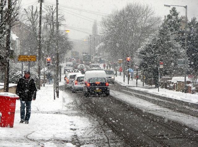 Cherry Hinton Road in the snow