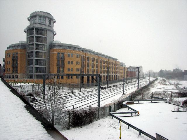 The Belvedere, seen from Hills Road railway bridge