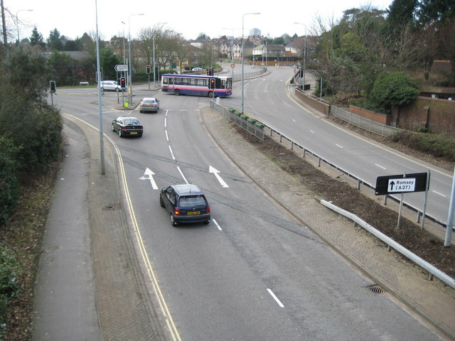 Swaythling: A335 Stoneham Way and A35 Burgess Road junction