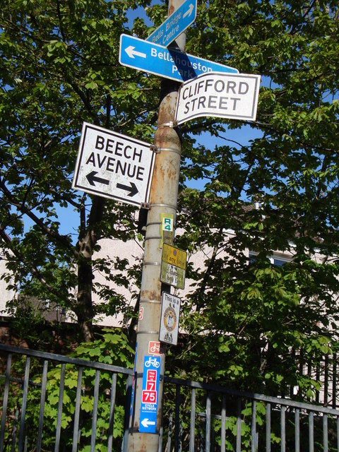 Lamp post at junction of Beech Avenue and Clifford Street, Ibrox