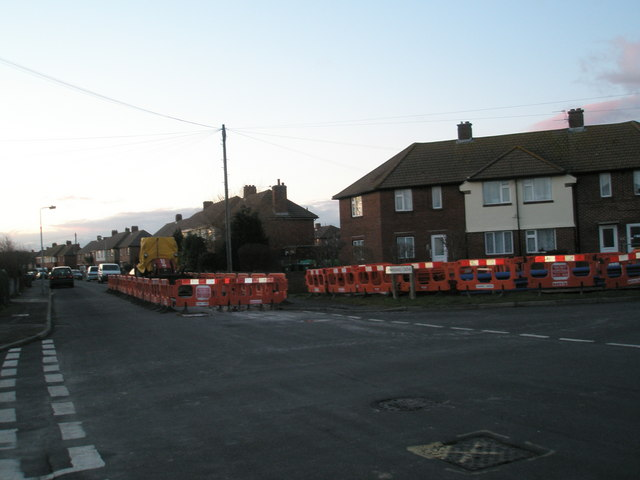Roadworks at the junction of Windmill Grove and Coral Grove