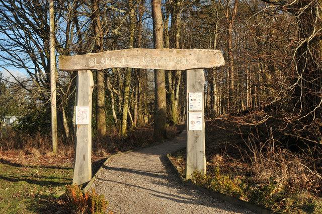 Entrance to Blarbuie Woodland walks