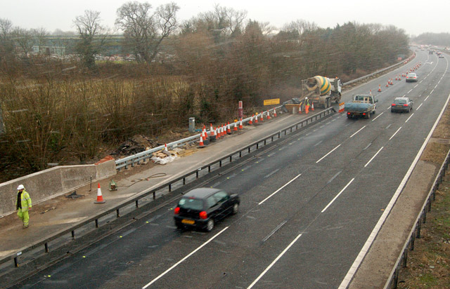 M5 roadworks near Junction 12 during a snow flurry