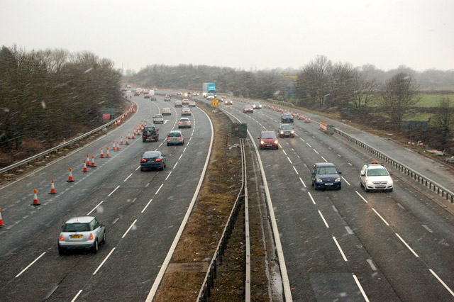 M5 motorway near Junction 12 during a snow flurry