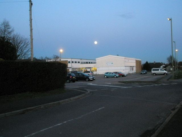 Full moon above Portchester Community Centre