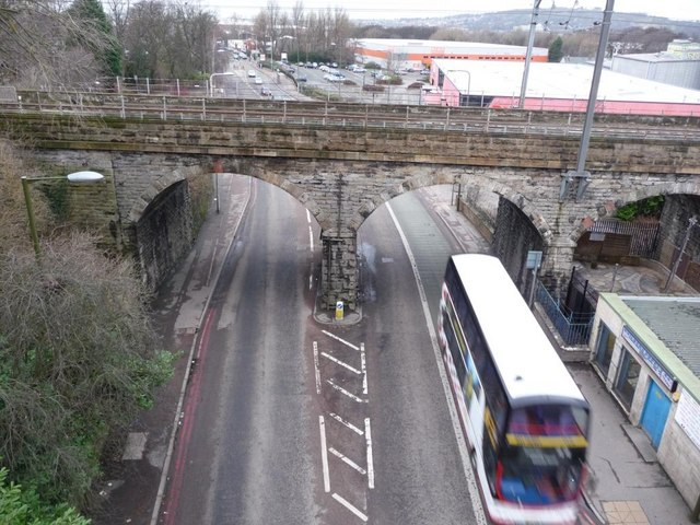 Inglis Green Road passing under the 1847 railway viaduct