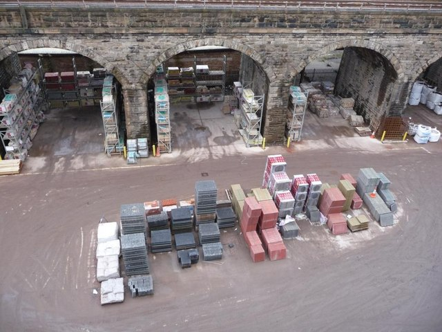Builders' yard taking advantage of the railway viaduct at Slateford