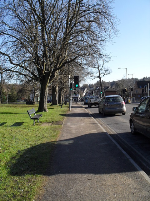Approaching a pedestrian crossing on the  B2131 at Shottermill
