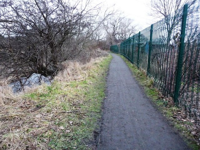 Riverside footpath between the Water of Leith and Saughton Main allotments