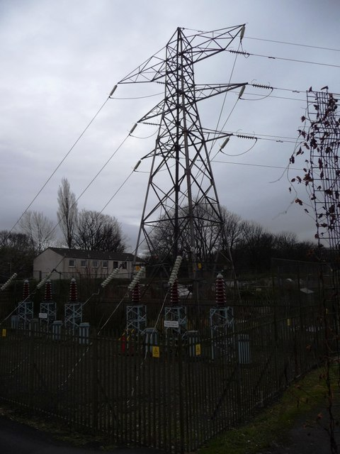 Pylon, between Saughton Main allotments and Chesser Loan