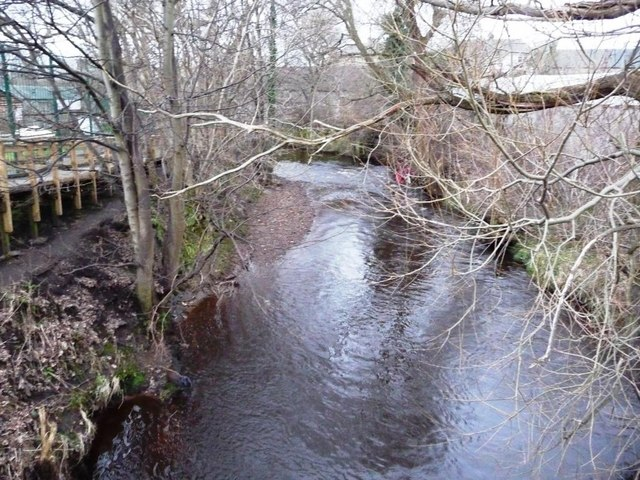 View downstream from footbridge on the Water of Leith Walkway