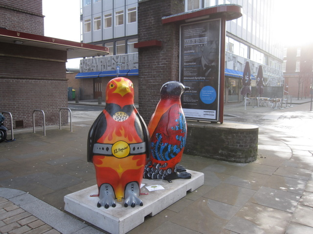 Go Penguins outside the Philharmonic Hall