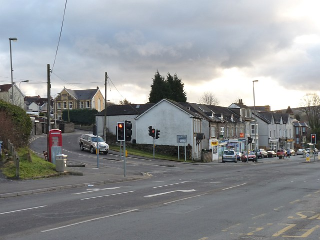 The junction of Tabor Road with Main Road, Maesycwmmer
