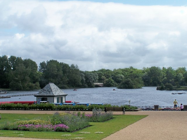 View across the Boating Lake, Stanley Park, Blackpool