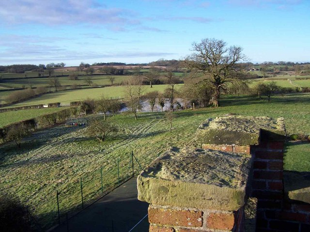 Pond From The Roof Of Ellenhall Church