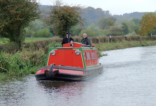 Tug style canal cruiser near Bishton, Staffordshire