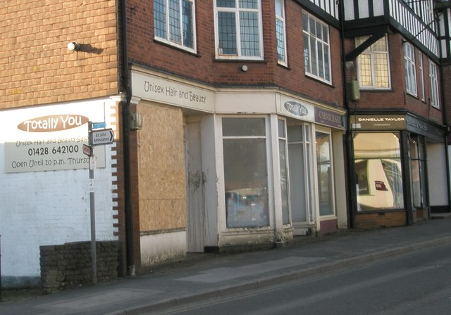 Boarded up shop in Weyhill
