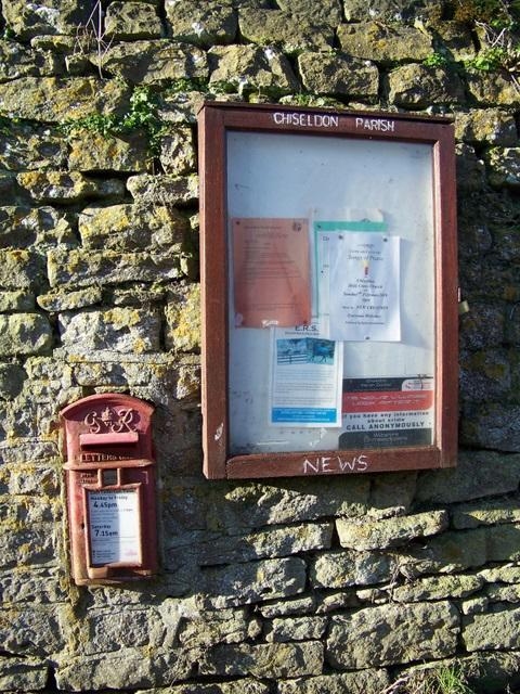 Postbox and notice board, Badbury