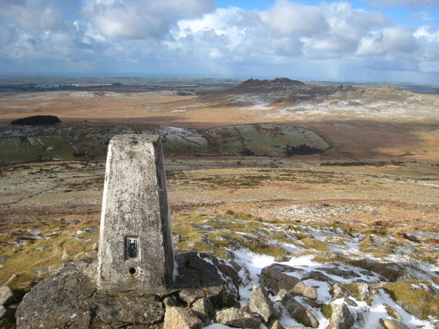 Trig point on the summit of Brown Willy
