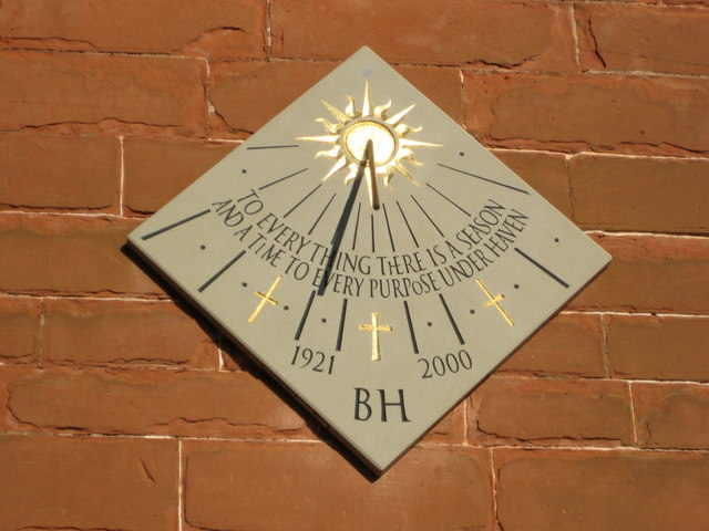 Basil Haines Memorial Sundial, Martley church