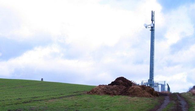 Mast and trig point, Borrowby