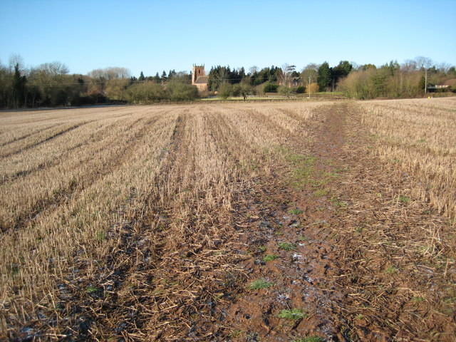 Footpath and stubble field, Martley