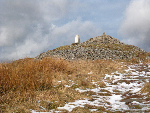 Trig point and cairn on Brown Willy summit