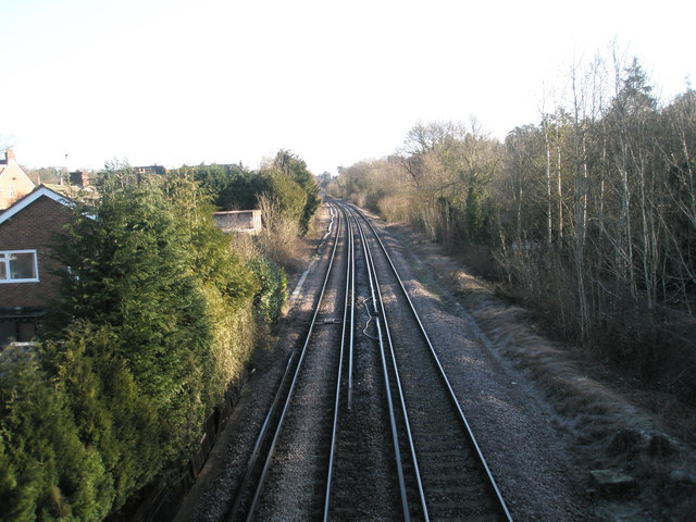 Looking eastwards from the railway footbridge between St Christopher's Road and King's Road