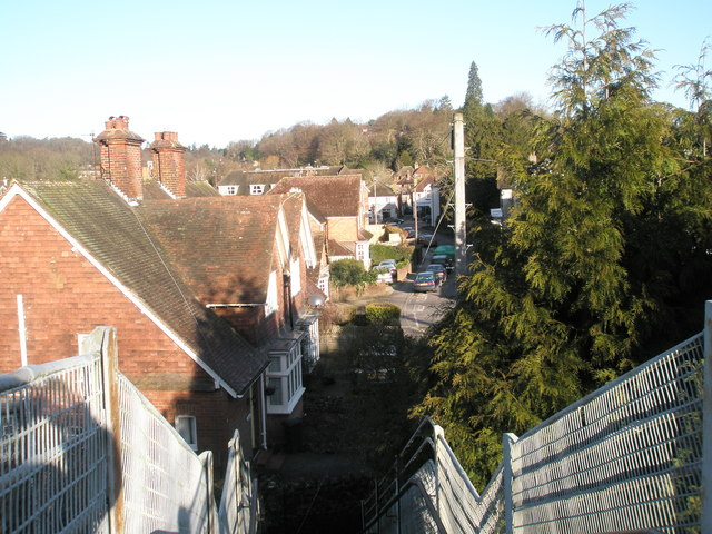 Looking from the railway footbridge into St Christopher's Road