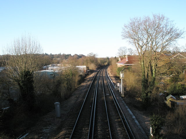 Looking westwards from the railway footbridge between St Christopher's Road and King's Road