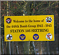 TM3195 : Seething Airfield - Welcome sign by Evelyn Simak