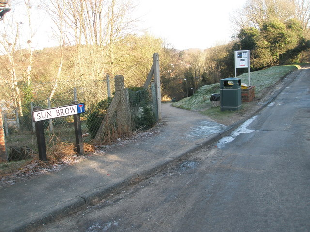 Road and path junction in Sun Brow