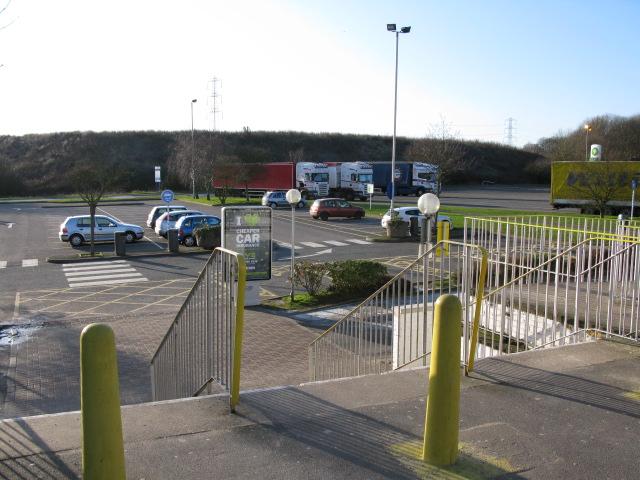 Parking area for Farthing Corner service station
