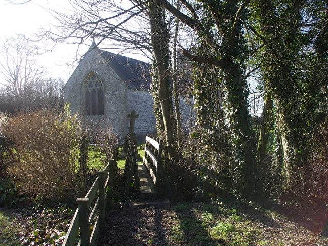 Narrow footbridge into churchyard, Goldcliff