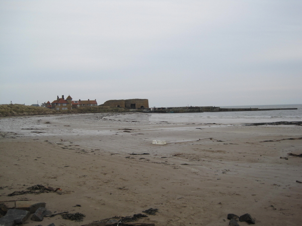 Beadnell Beach looking towards Harbour and Lime Kilns