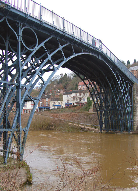 The Iron Bridge from the south bank of the Severn
