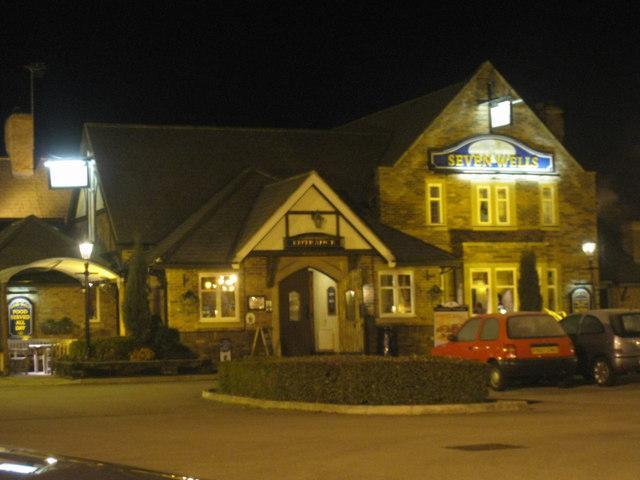 Seven Wells pub at night