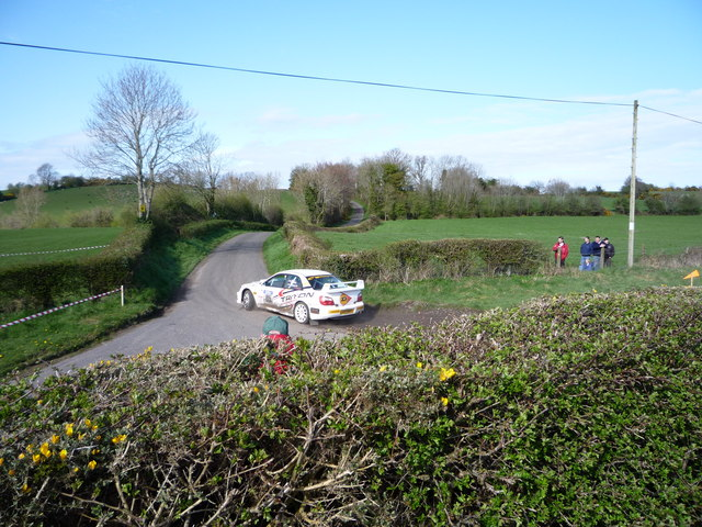 Rally car truring from Brae Road into Curley Road