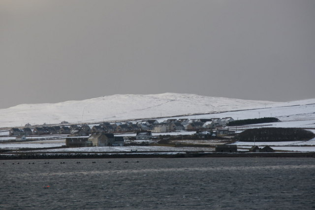 Baltasound in the snow, from Skeo Taing